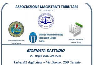 Giornata di Studio – La riforma del sistema della riscossione D.Lgs. n. 159/2015 – Taranto 20 maggio 2016