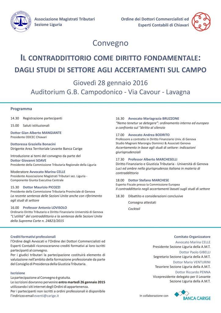 Convegno – Il Contraddittorio come diritto fondamentale: dagli studi di settore agli accertamenti sul campo  – Lavagna 28 gennaio 2016
